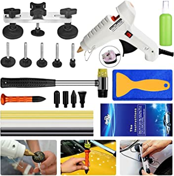 HIP TEC Car Paintless Dent Repair Kit, Auto Body Dent Repair Tools, Golden Dent Lifter, Short T bar Dent Puller with Glue Gun and Glue Sticks