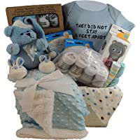 Baby Boy Gift Basket: They Did Not Stay 6 Feet Apart. Blue Bear, Sherpa Blanket, 3pc Snack Containers, 3pc Layette Gift…