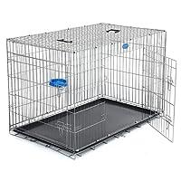 Songmics Jaula metálica para perro gato conejo Plegable Transportable 122 x 76 x 81 cm Negro PPD48W