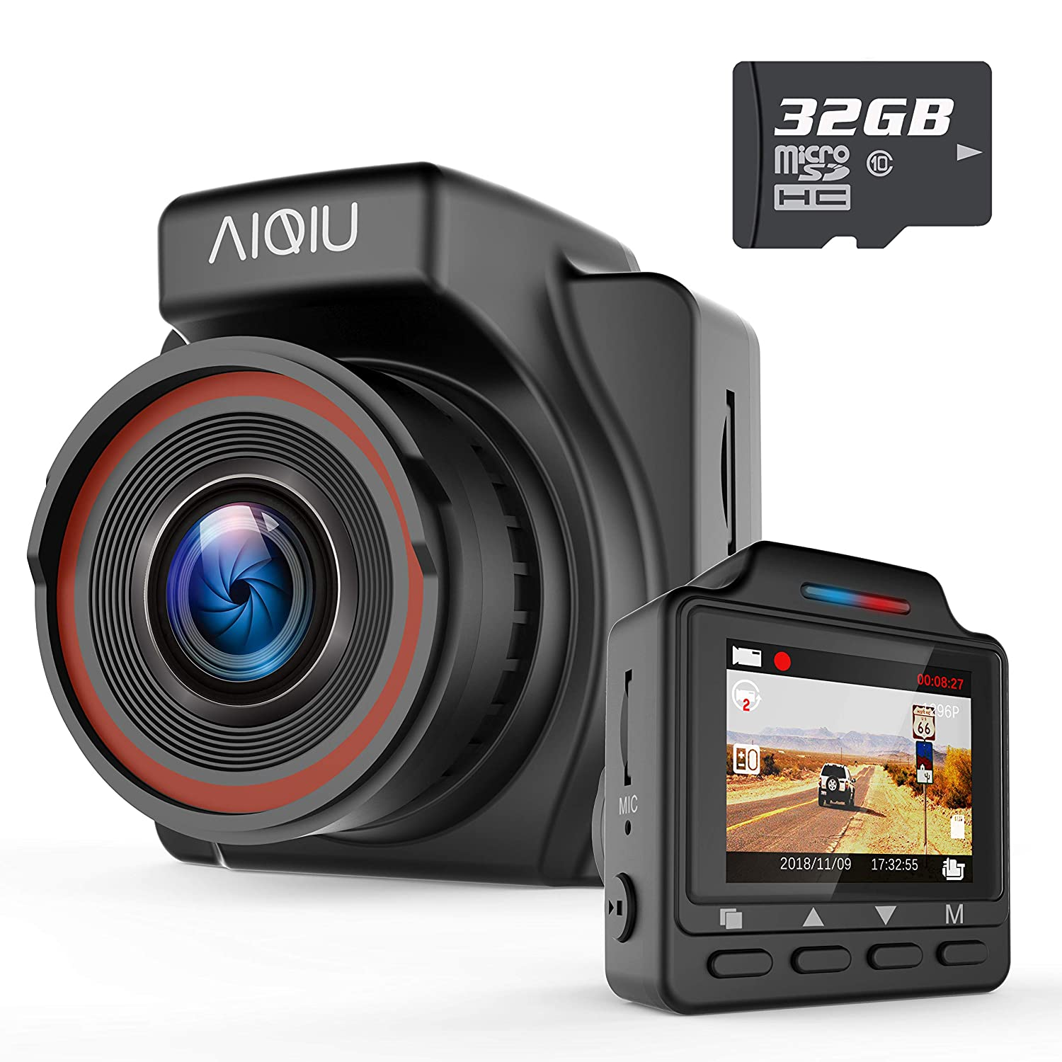 Dash Cam, AIQiu 1296P FHD Car Driving Recorder 1.5' Mini Night Vision Vehicle Dashboard Camera with 32GB SD Card, G-Sensor, Loop Record, WDR, Parking Monitor