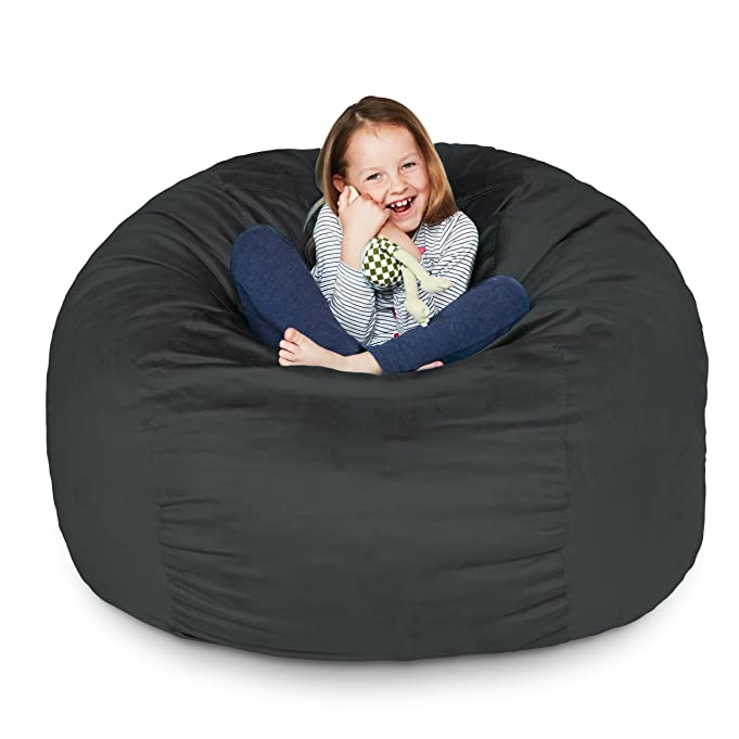 Amazon Lumaland Luxury 3 Foot Bean Bag Chair With Microsuede Cover Black Machine Washable Big Size Sofa And Giant Lounger Furniture For Kids