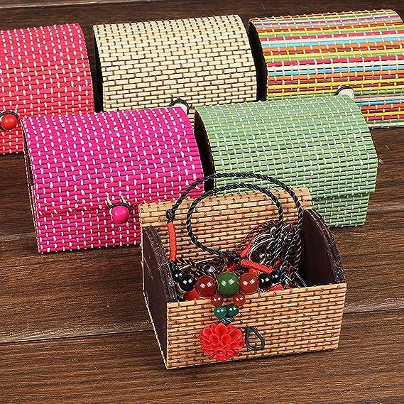 Amazon.com: Collar joyería eDealMax de bambú hecha a mano regalo caja de almacenaje Organizador del ornamento 2 PCS verde: Kitchen & Dining