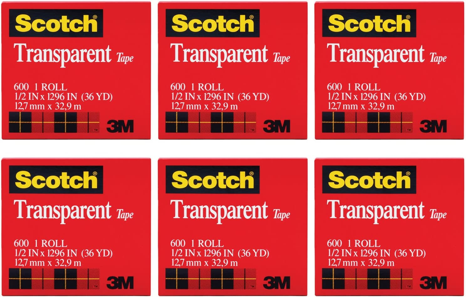 Scotch Premium Transparent Film Tape, Clear, 1/2 Inch x 36 Yards (600), 6 Packs