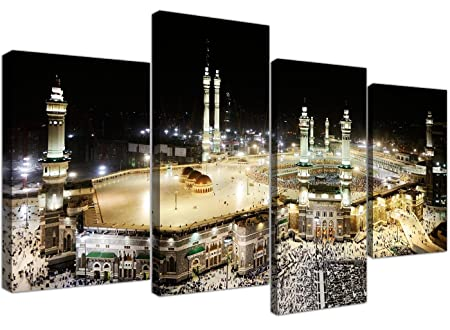 Large Islamic Canvas Wall Art Pictures of Hajj Pilgrimage to Kabah in Mecca – XL – Modern Muslim Split Canvases – Multi Panel – Set of 4 Prints – 130cm Wide