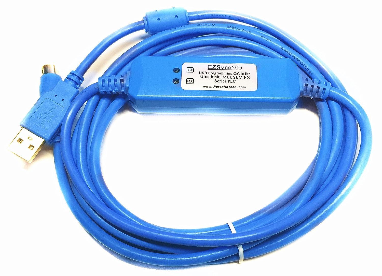 Amazon.com: EZSync USB Programming Cable for Mitsubishi Melsec FX Series  PLCs, USB to RS422, FX-USB-AW Compatible, EZSync505: Computers & Accessories