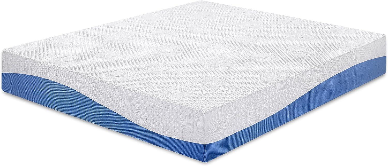 PrimaSleep Wave Gel Infused Memory Foam Mattress, 10 H, Full, Blue