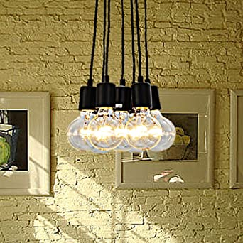 Fuloon Vintage Edison Loft Pendant Lighting Chandelier Modern Chic Industrial  Dining Light (Black 7