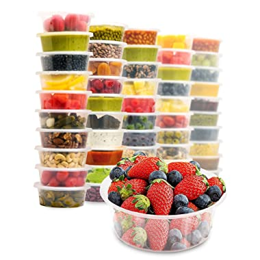 40 Food Containers with Easy Open, Leakproof Lids - 8oz Deli Cups | Microwave & Freezer Safe | Plastic Meal Storage by Prep Naturals