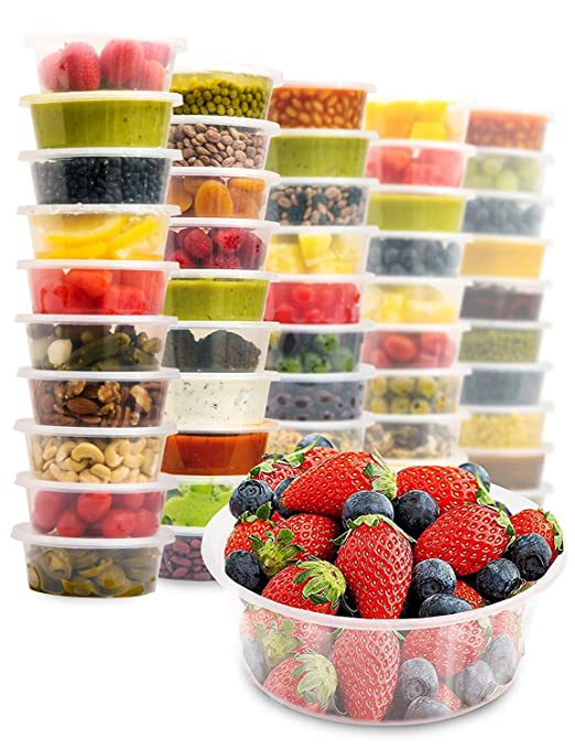 Recipientes desechables Zuvo para alimentos, botes de plástico aptos para microondas y congelador, 50 unidades con tapas (650 ml), plástico, 500 ml