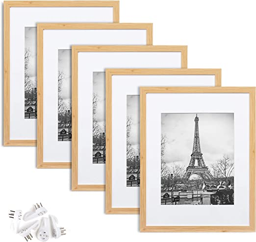 upsimples 11x14 Picture Frame Set of 5,Display Pictures 8x10 with Mat or 11x14 Without Mat,Wall Gallery Photo Frames,Oak