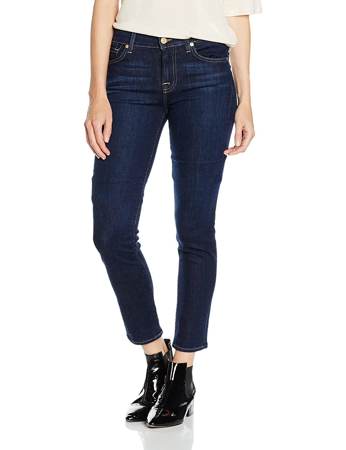 TALLA 32W / 33L. 7 For All Mankind Mid Rise Roxanne Jeans para Mujer