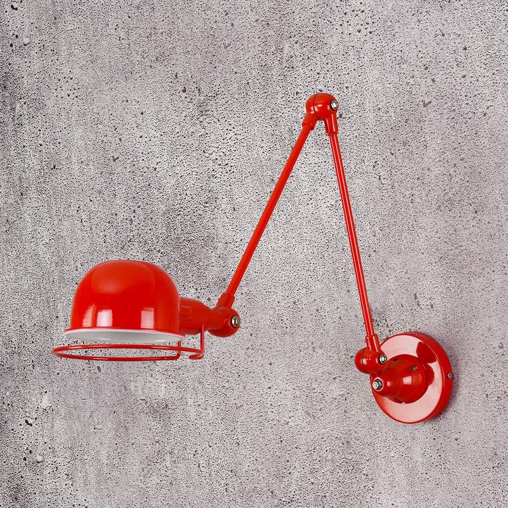 Modernes Design Klassische Nordische Loft Industrie Stil Verstellbare Wandleuchte Vintage Wandleuchte Wandleuchten E14 LED-Leuchte FüR Wohnzimmer Schlafzimmer, Rot