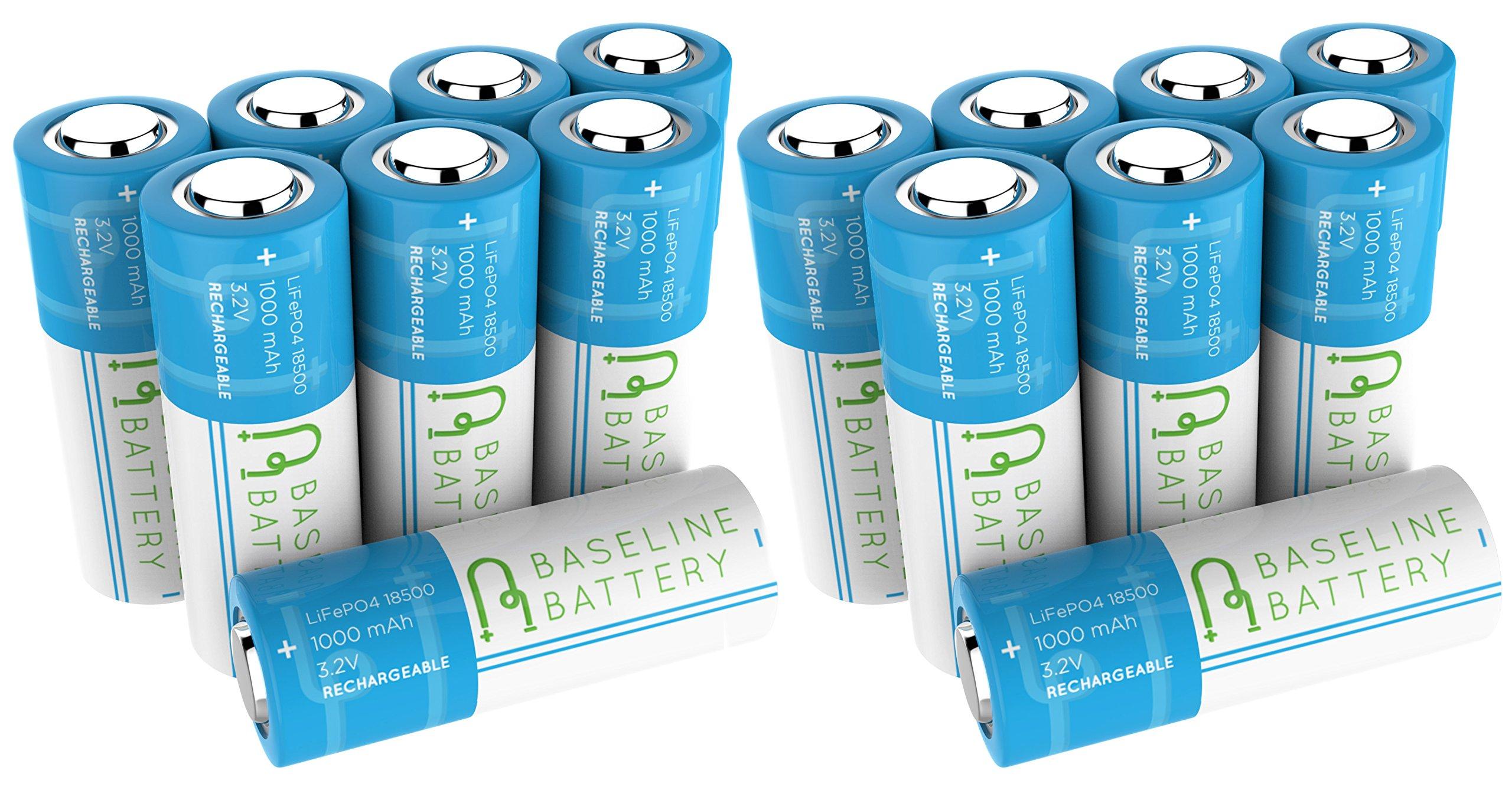 16 Baseline Battery 1000 mAh IFR 18500 3.2v LiFePO4 Lithium Phosphate Rechargeable Batteries Solar Garden Light