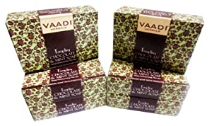 Chocolate and Mint Bar Soap - Deep Moisturising Therapy - Handmade Herbal Soap (Aromatherapy) with 100% Pure Essential Oils - ALL Natural - Best Moisturizer - Each 2.65 Ounces - Pack of 6 (16 Ounces) - Vaadi Herbals