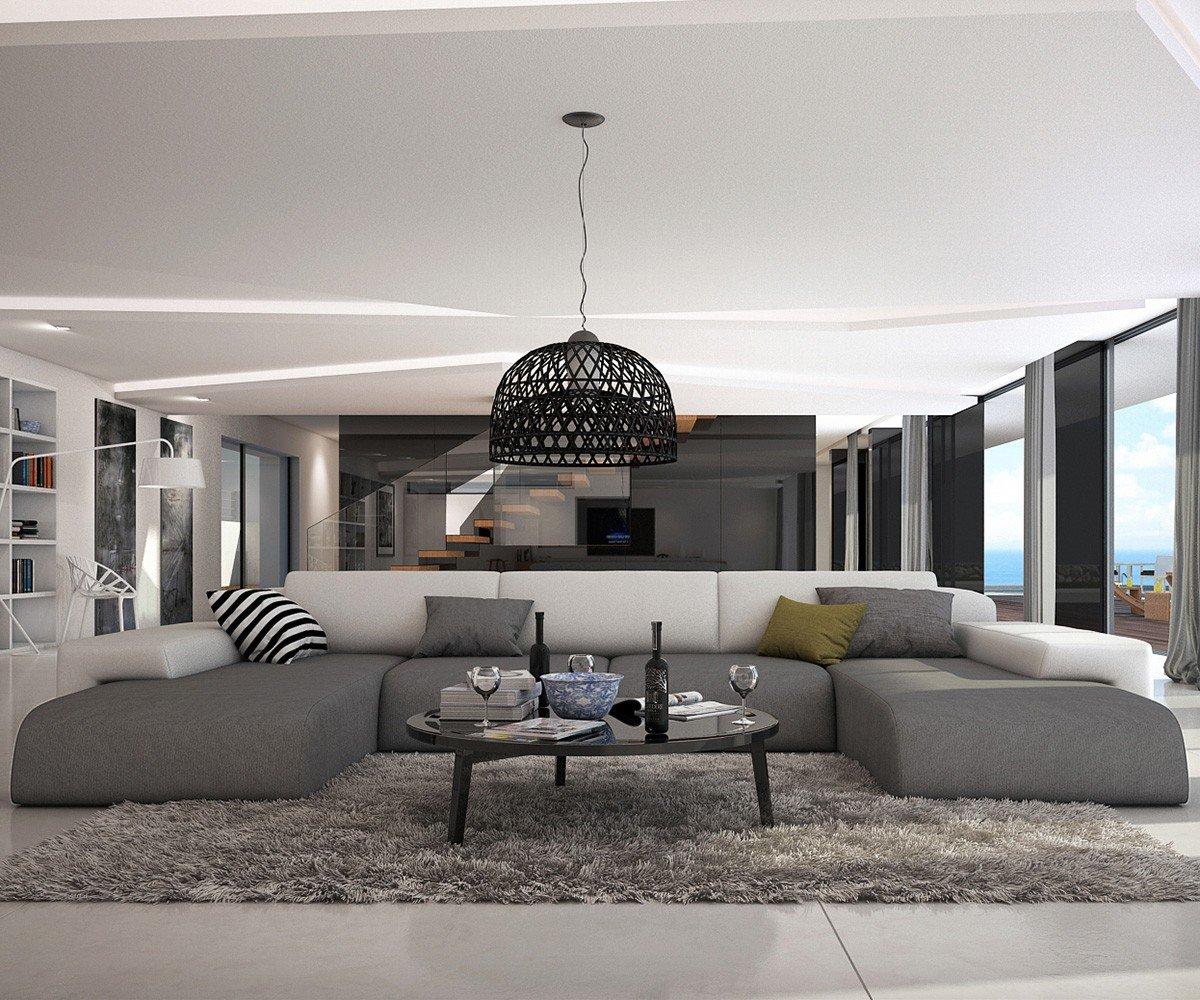 Couch Resida Grau Weiss 400x250 Cm Xxl Sofa Lounge Wohnlandschaft
