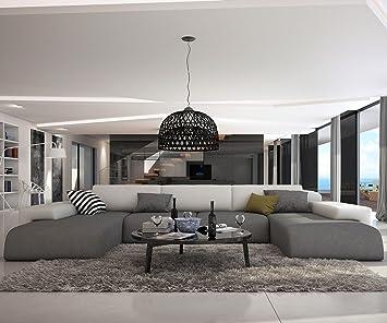 Wohnlandschaft grau  Couch Resida Grau Weiss 400x250 cm XXL Sofa Lounge Wohnlandschaft ...