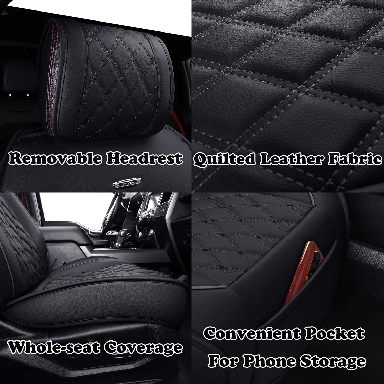 Automotive Vehicle Cushion Cover for Cars SUV Pick-up Truck Fit for 2015 to 2020 Ford F150 and 2017 to 2020 F250 F350 F450 Aierxuan Car Seat Covers Full Set with Waterproof Leather Black and Blue