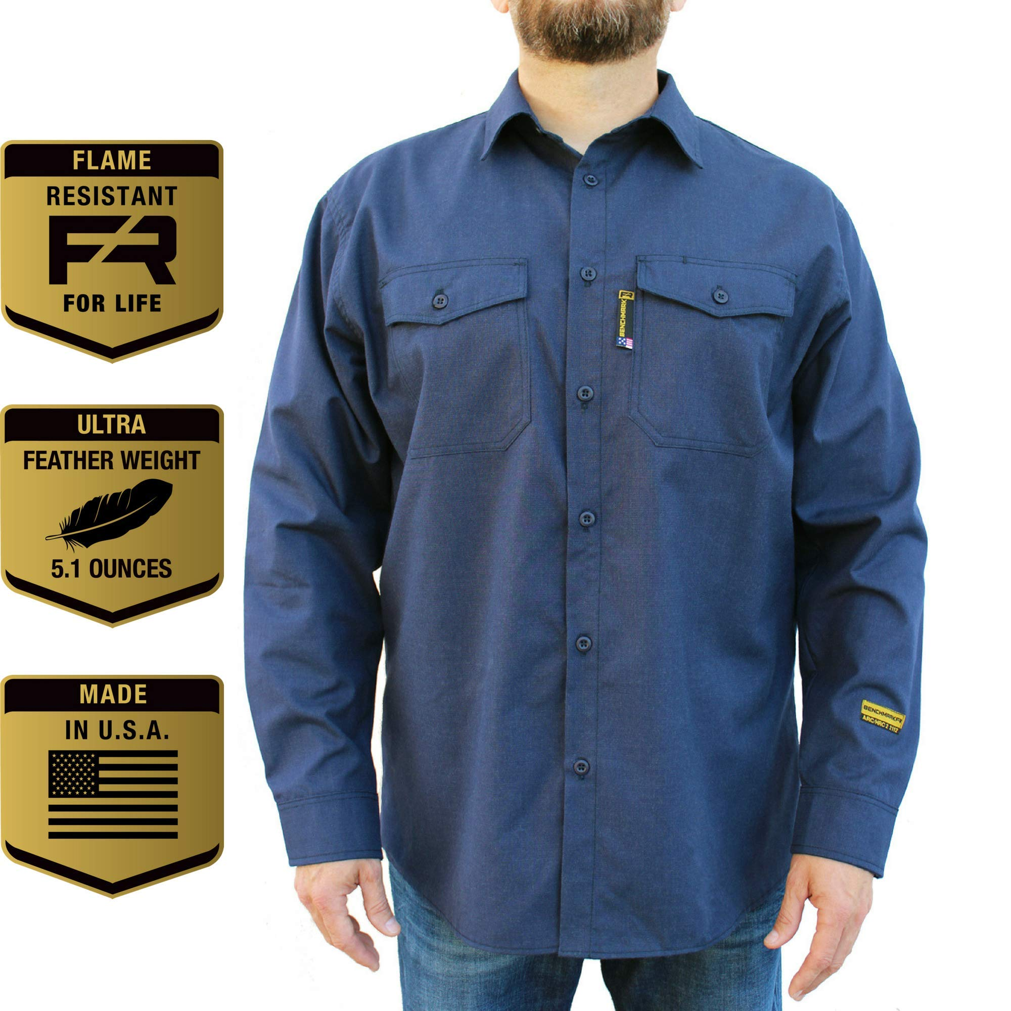 Benchmark FR Silver Bullet, 5.1 oz Ultra Lightweight FR Shirt, NPFA 2112 & CAT 2, Moisture Wicking, Men's FRC with 9 Cal rating, Made in USA, Advanced FR Materials, Navy, Large