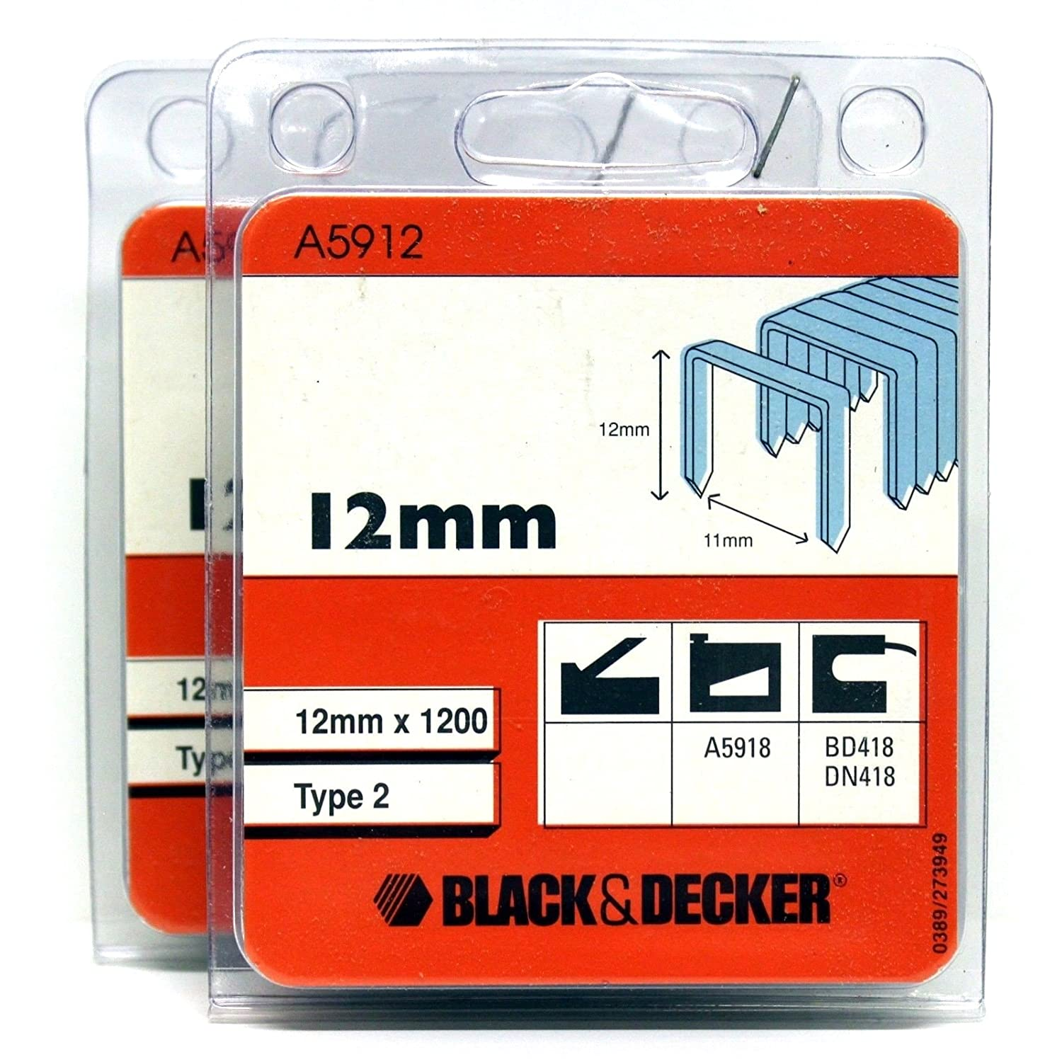 BLACK & DECKER TYPE 2 STAPLES 12MM B&D A5918 BD418 DN418 (2 PACKS) Trizeik