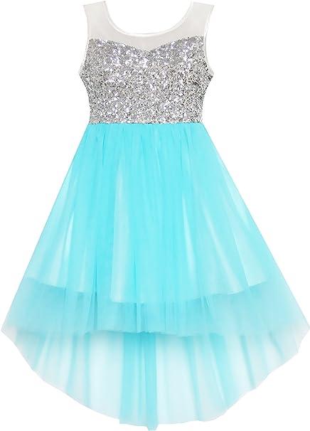 HK23 Sunny Fashion - Vestido liso para niña azul 10 años