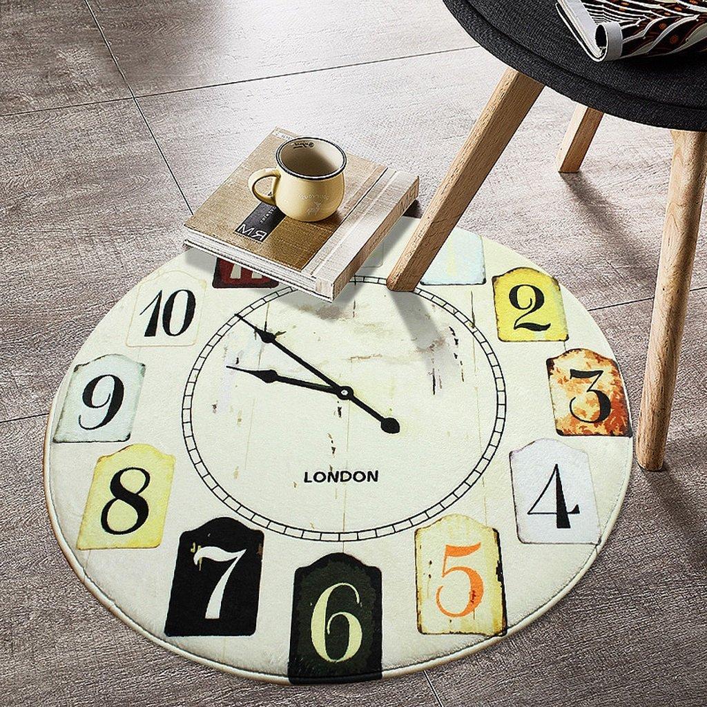 時計カーペットスタディルームラウンドラグリビングルームベッドルームフロアマット ( 色 : B , サイズ さいず : 160cm ) 160cm B B0796P3FJK