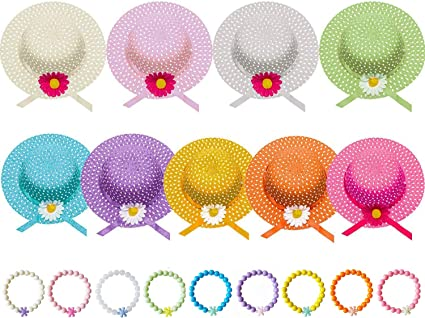 Trendy Apparel Shop Girls Flower Tea Party Sun Flower Straw Hat and Purse Set