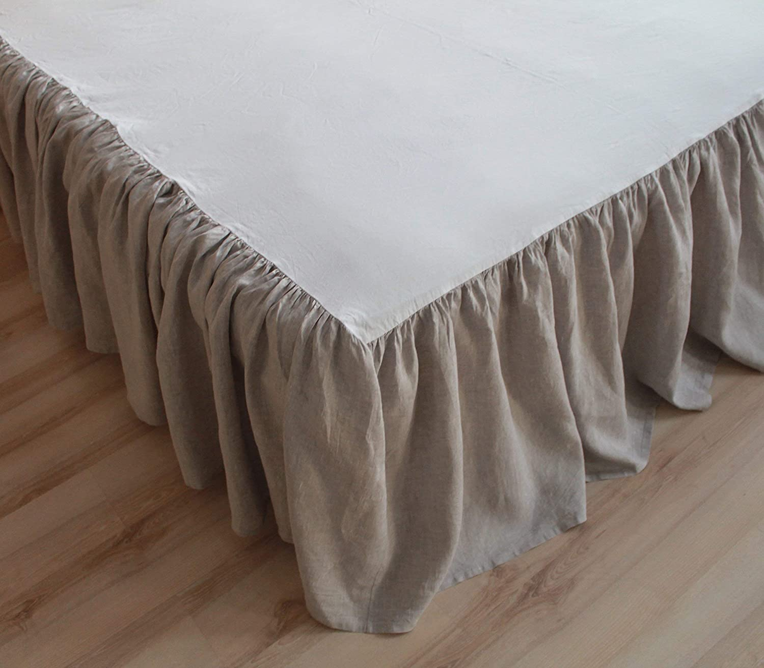 Linen Bed Skirt with Gathered Ruffles and Cotton Decking - Natural Linen Oatmeal, White or Grey Colors