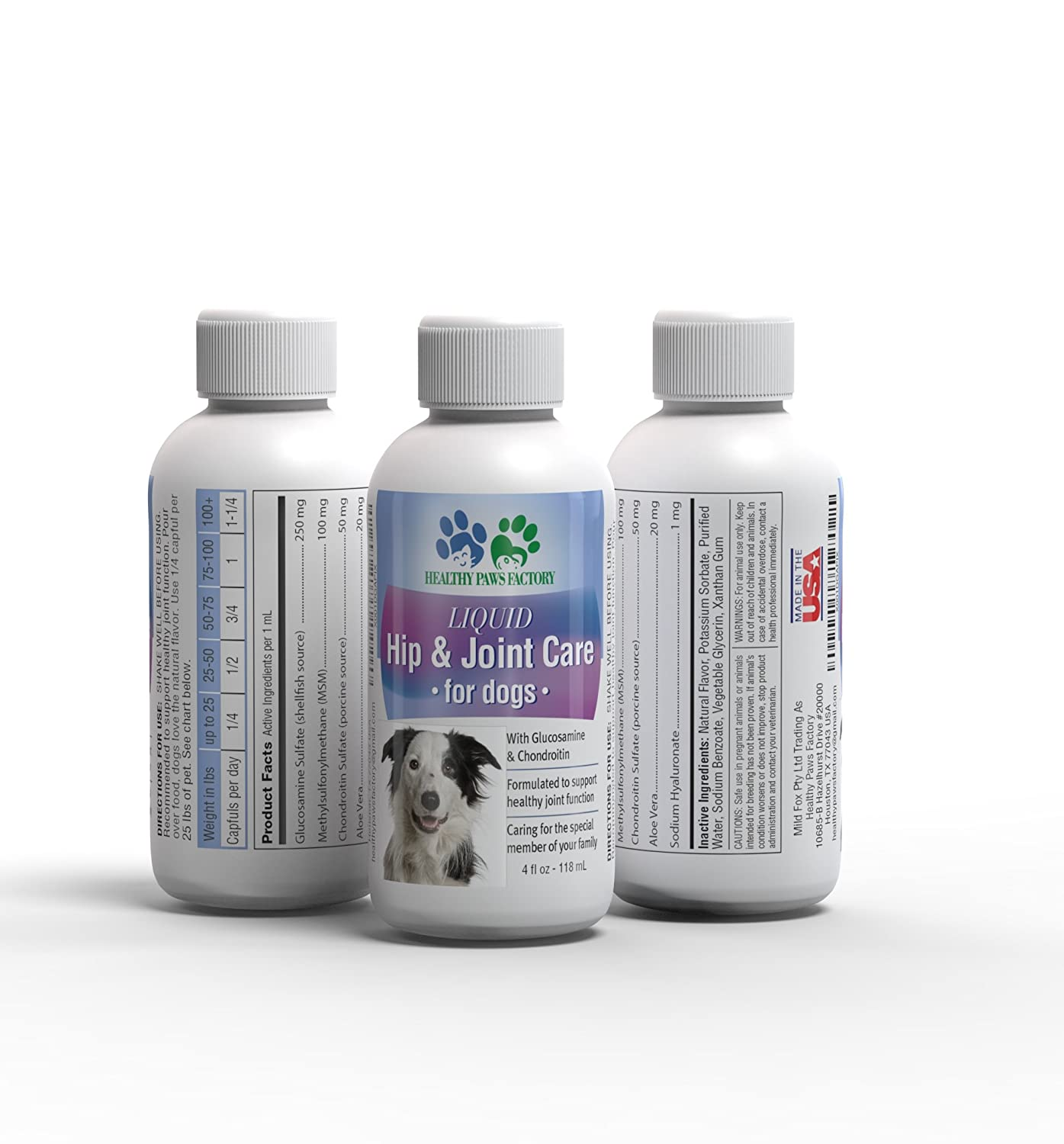 LIQUID HIP & JOINT CARE FOR DOGS Glucosamine Chondroitin MSM Amino Acid Supplement For Dogs Aloe Vera Heals Protects Repairs Supports Joints, 4 oz Bottle
