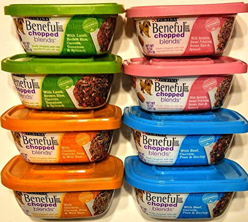 Purina Beneful Chopped Blends Wet Dog Food – 10 oz. Tub Combo Variety Bundle, 4 Flavors 2 Each Flavor, Total 8 Tubs Variety Pack 1 , Black