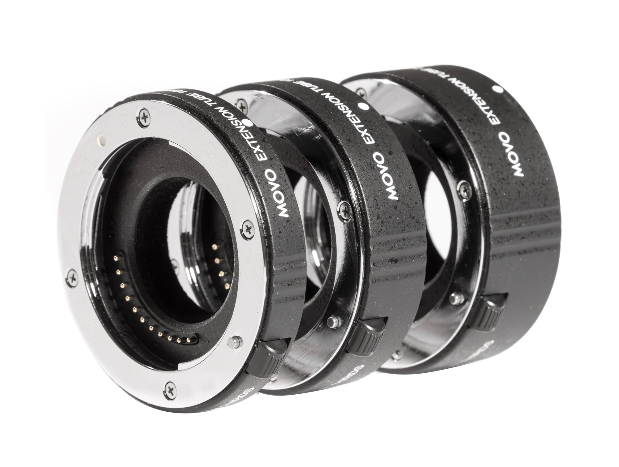 Movo MT-FT47 3-Piece AF Chrome Macro Extension Tube Set for Micro 4:3 Mount Mirrorless Camera System (Compatible with Olympus Pen, Panasonic Lumix, BMCC) with 10mm, 16mm and 21mm Tubes by Movo