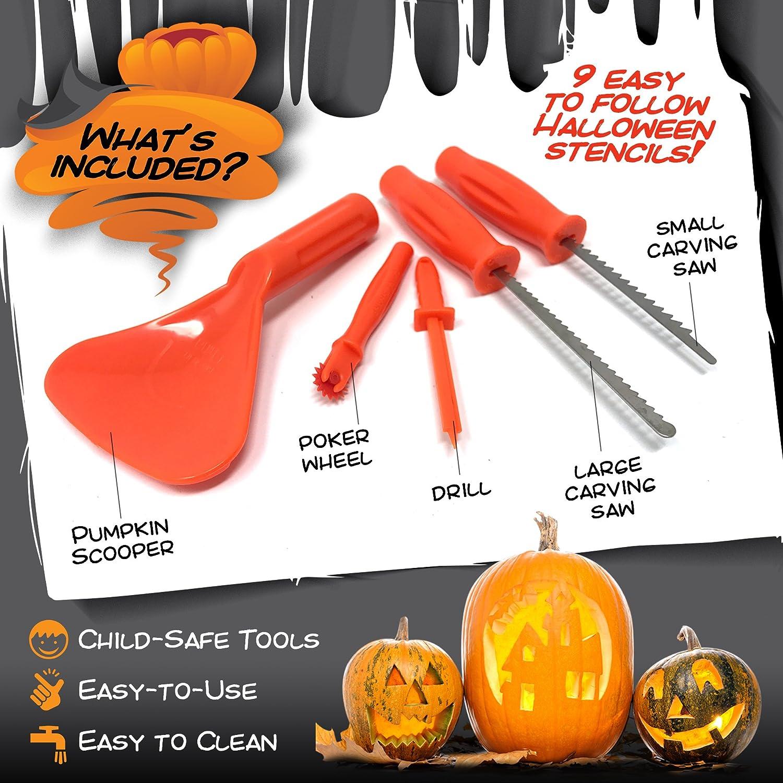 Halloween Kürbis Schnitzset – Werkzeug Set zum Schnitzen, deko set ...