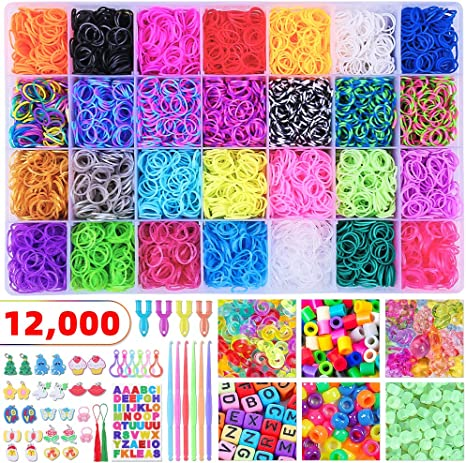 Rainbow Colors - 600 each of Red, Yellow, Green, Blue, Pink, Purple, Turquoise, and Orange Loom Rubber Bands - Compatible with Rainbow Looms Loom Bands 4800 pc Rubber Band Refill Value Pack with Clips