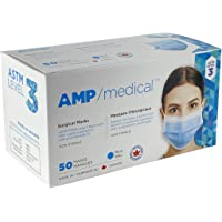 Surgical Mask ASTM Level 3, Made in Canada, Box of 50, 3ply Face Masks, Pleated Polypropylene and Meltblown Layers, Ear…
