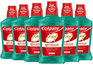 Colgate Total Alcohol Free Mouthwash, Spearmint - 500 mL, 16.9 fluid ounce (6 Pack)