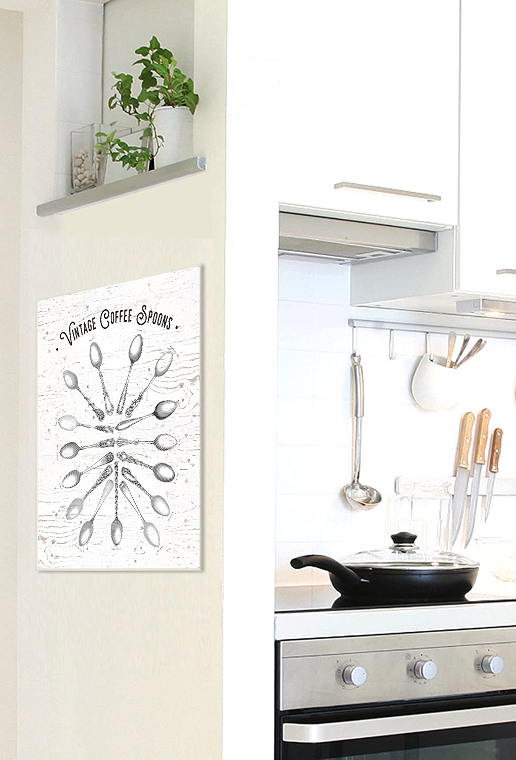 Proudly Made in USA 10 x 0.5 x 15 Stupell Home D/écor Vintage Coffee Spoons Illustration Wall Plaque Art