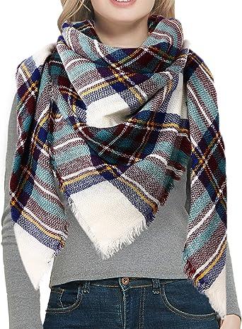 Women fashion Oversized Tartan Scarf Tassels Wrap Shawl Plaid Cozy Checked IR