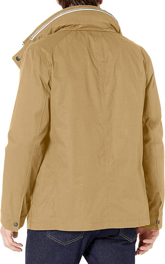 Cole Haan Mens Military Oxford Jacket with Hidden Hood