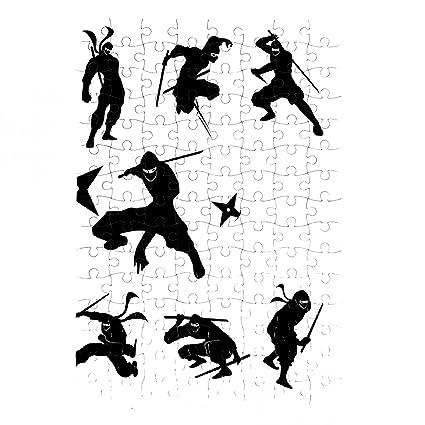 Puzzle Ninja Shadow siluate la silueta del vector - A4 ...