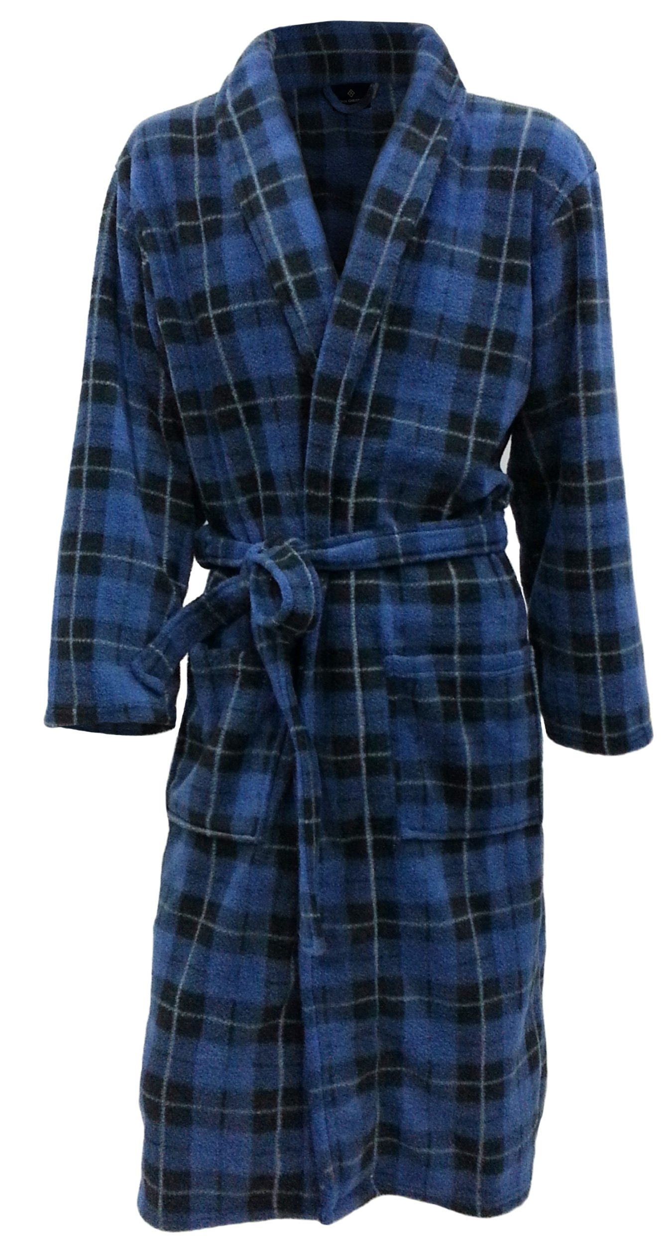 John Christian Men's Fleece Robe by Blue Tartan (Large)