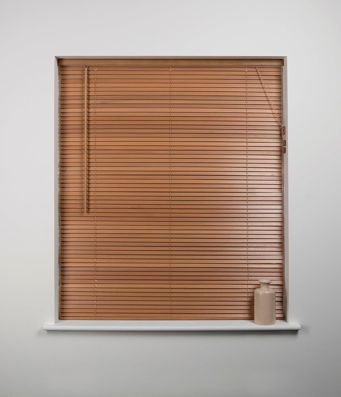 27mm Wood Venetian Blind, Oak, 150cm Wide x 160cm Drop Sunflex