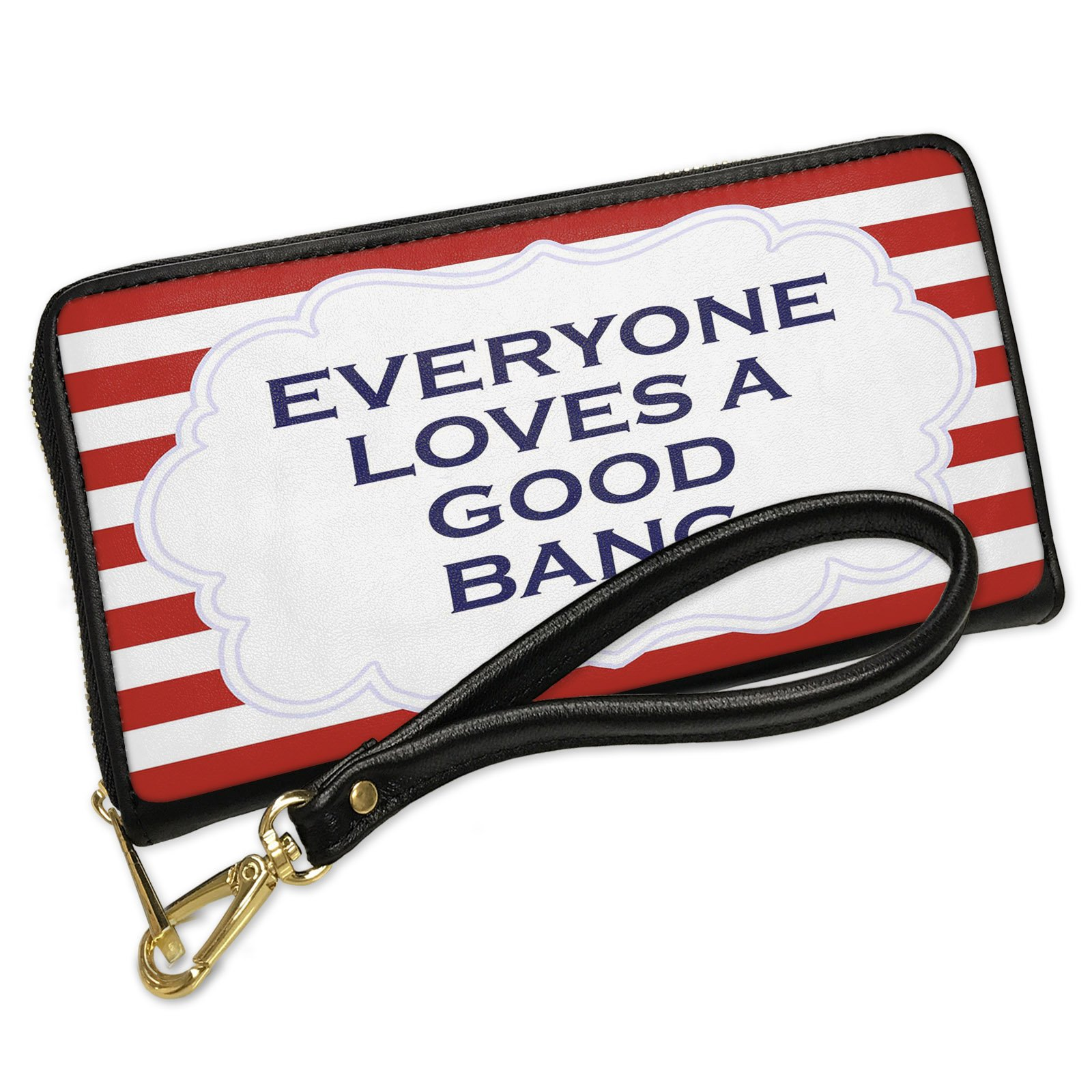 Wallet Clutch Everyone Loves a Good Bang Fourth of July Red Stripes with Removable Wristlet Strap Neonblond
