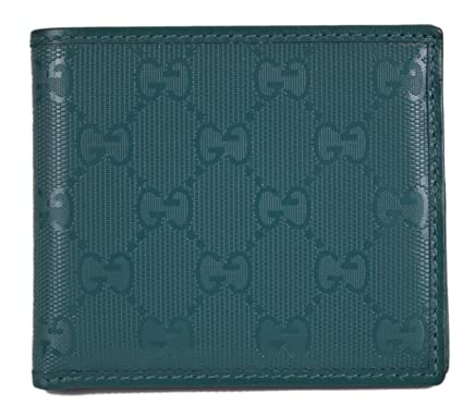 3f075aa47ba99b Image Unavailable. Image not available for. Color: Gucci Men's Teal Imprime  GG Guccissima Bifold Wallet 145754