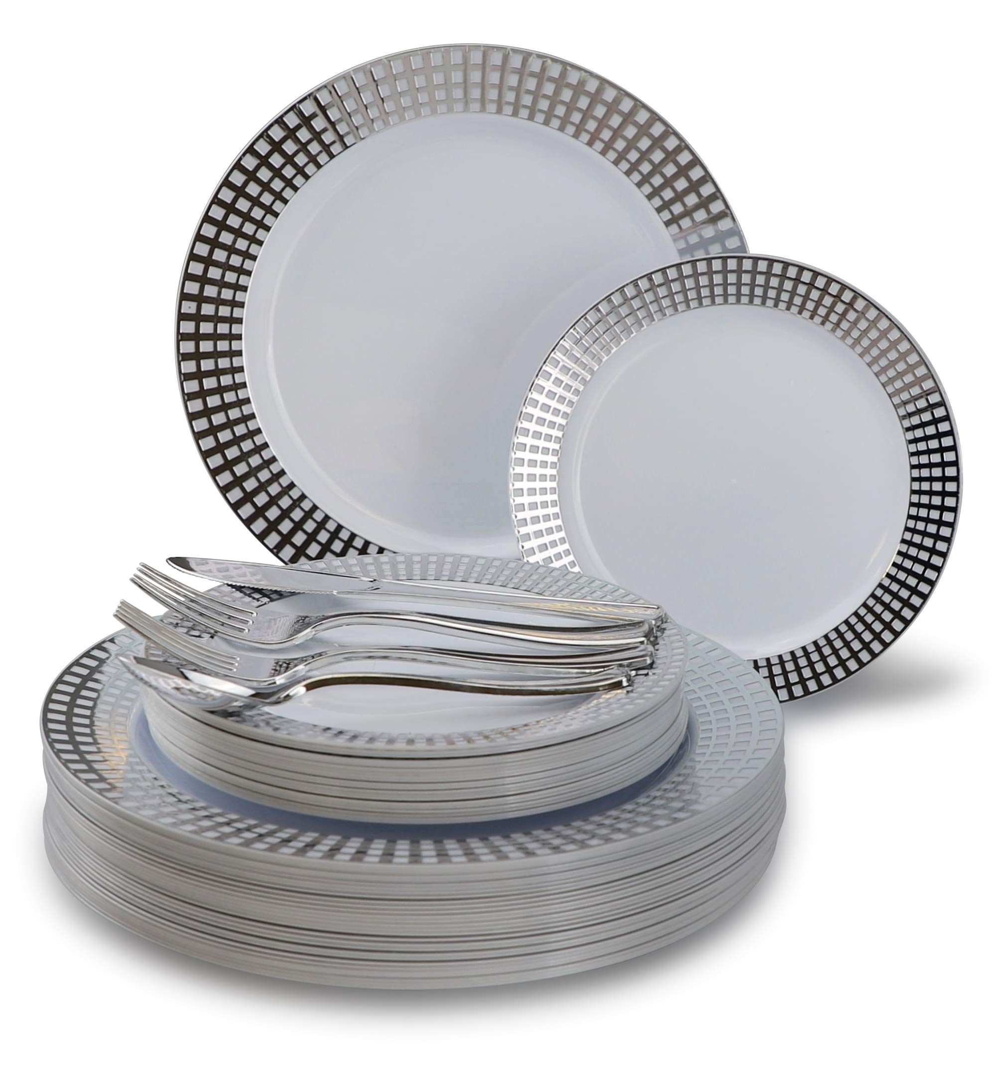 New'' OCCASIONS'' 150 piece / 25 guest Wedding Party Disposable Dinnerware Set - Plastic Plates and Silverware for 25 guests (Princess White/Silver)