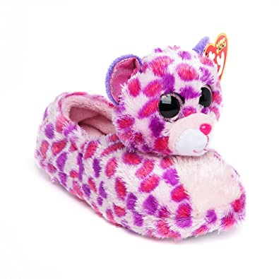 8d060fb2bae Amazon.com  TY Girls Glamour The Leopard Big Head Beanie Boo Slip On  Slippers Size XL  Shoes