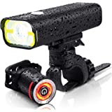 BrightRoad 800 Lumens Front and Back Bike Lights, USB Rechargeable & IPX6 Waterproof, Ultra Bright Bicycle Mountain…