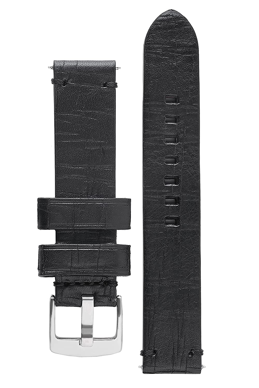 署名BizonカーフスキンWatch Band Bisonエンボスレザー時計ストラップブレスレット 24 mm ブラック  ブラック 24 mm B01M1378ZO