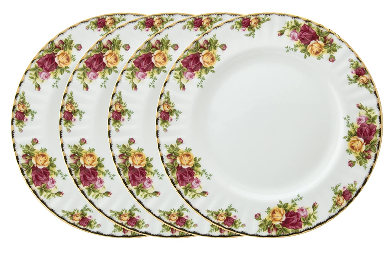 Set of 4 Royal Albert Old Country Roses Plates 27cm