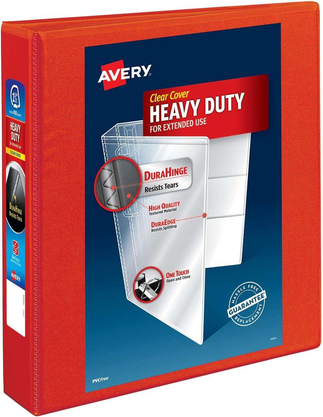 1.5One Touch EZD Ring 12 Red Binders 79171 Avery Heavy Duty View 3 Ring Binder