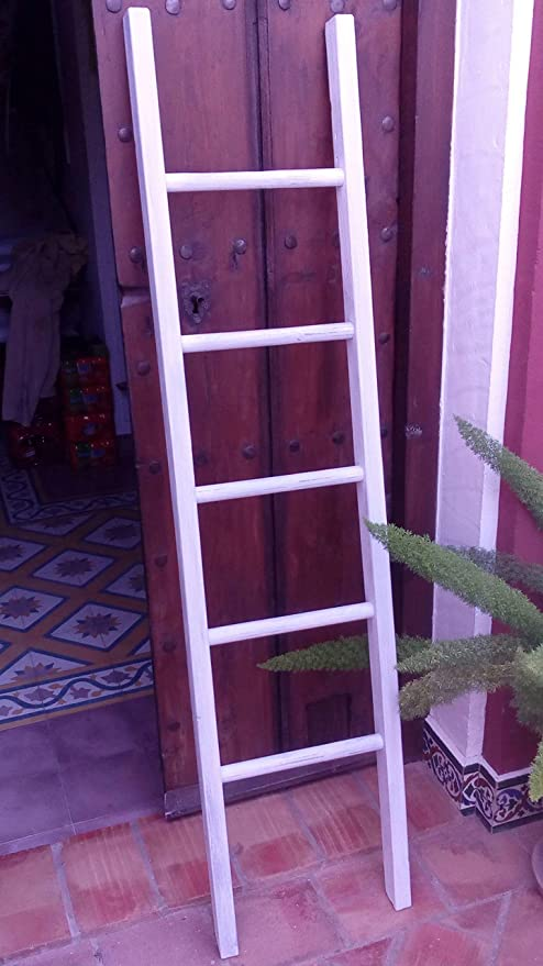 BUSCOCARPINTERO Escalera Decorativa Vintage 150 CM X 37CM Retro Recta Madera Envejecida TOALLERO Zapatero Decorativa 5 PELDAÑOS Blanca Rustica: Amazon.es: Hogar