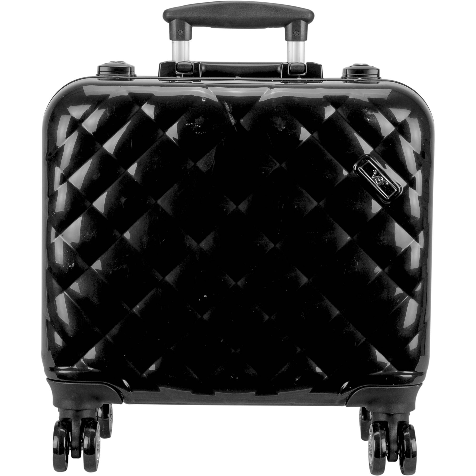 Ver Beauty Professional Travel 4-Wheels Rolling Makeup Studio Case, Quilted Black